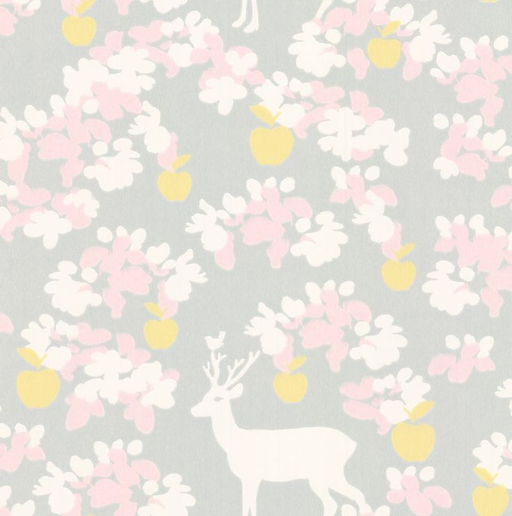 Majvillan Apple Garden Soft Grey Wallpaper main image