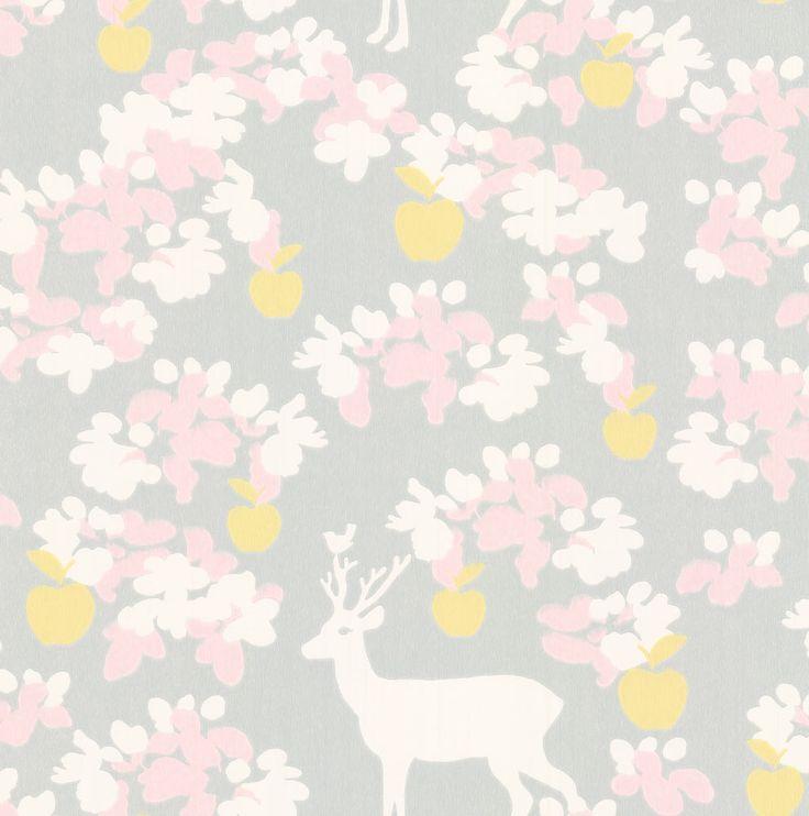 Majvillan Apple Garden Soft Grey Wallpaper main image