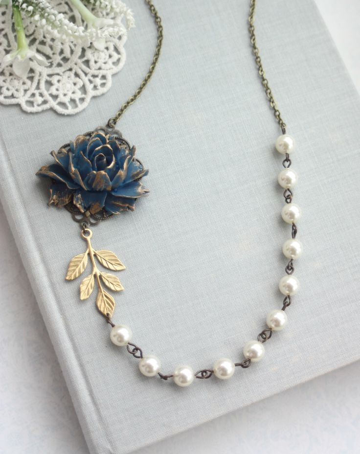 Blue Rose Flower Necklace, Navy Blue and Gold Wedding, Flower and Pearl Necklace Something Blue, Navy and Gold Wedding, Navy Blue Wedding by Marolsha on Etsy https://www.etsy.com/listing/233617668/blue-rose-flower-necklace-navy-blue-and