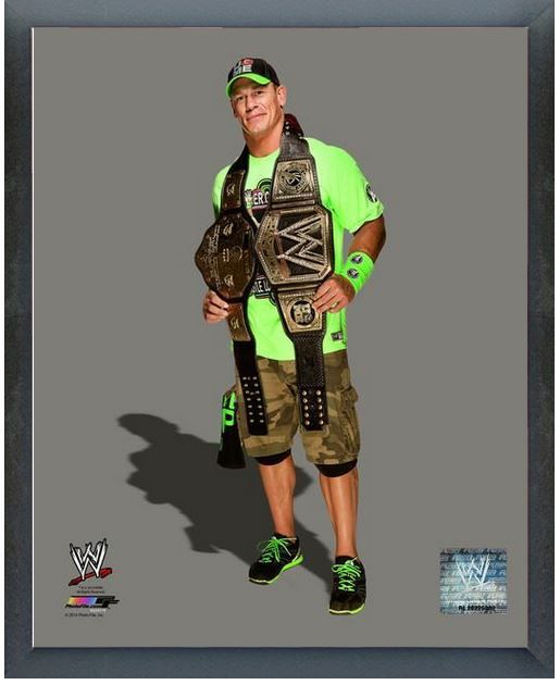 "John Cena with the WWE Championship Belts 2014 - 11"" x 14"" Photo - Sports Frame"