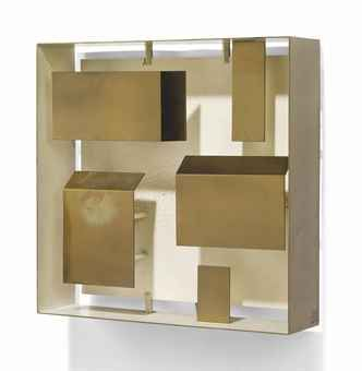 "Gio Ponti ""Quadri Luminosi"" wall light, 1957. Produced by Arredoluce, polished and painted brass."