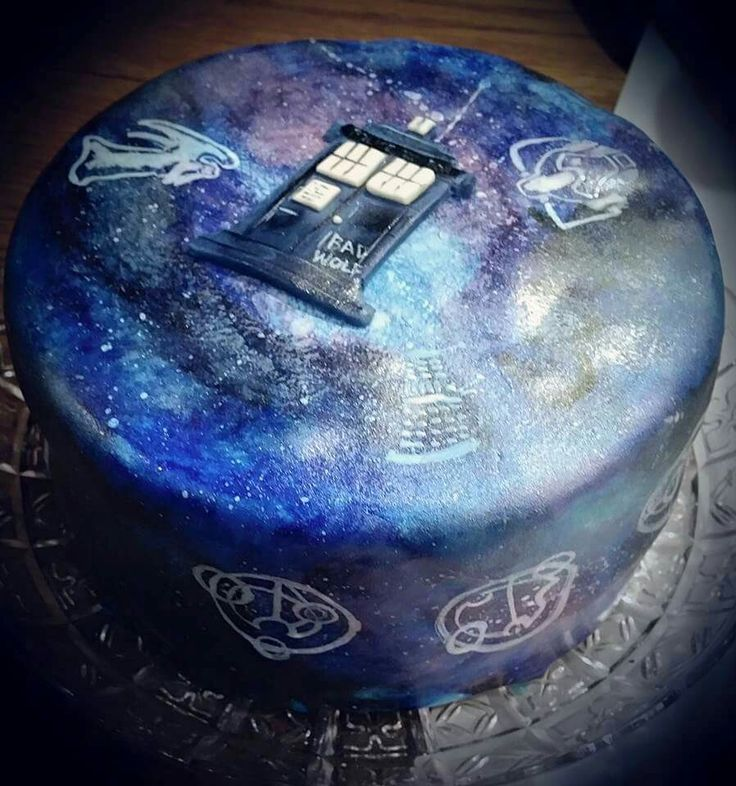 Dr who hand painted galaxy cake