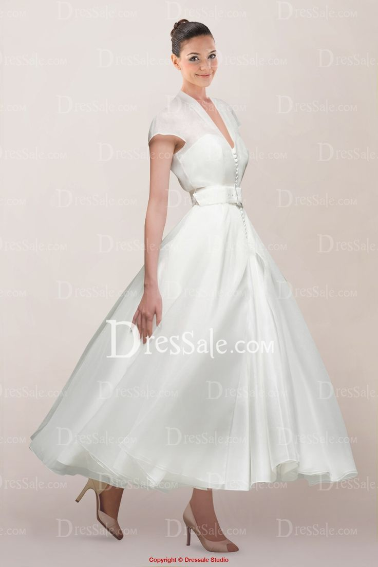 vintage queen anne neckline ankle length bridal gown with buttons front