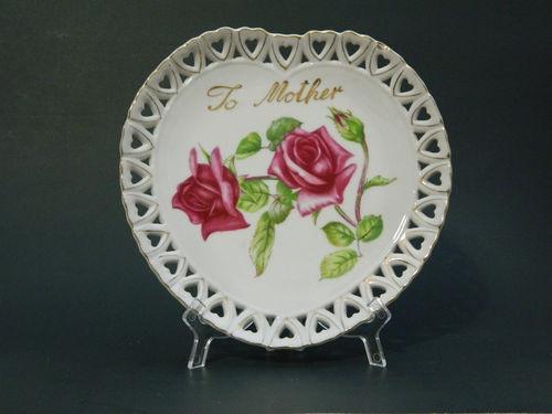 Sold Mother Heart Roses Plate Lefton Japan 508 Ceramic