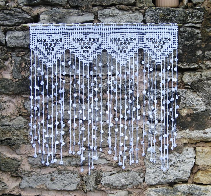 Rideau crochet en fin coton blanc motifs coeurs et fleurs : Textiles et tapis par pfenninger