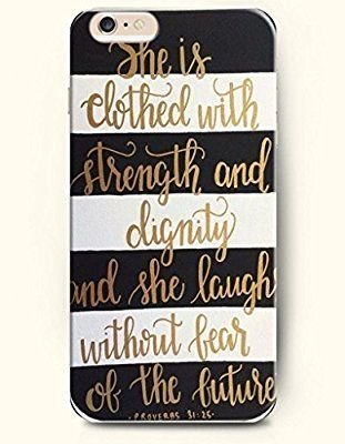 Bible Verses Christian Quotes Inspirational and Motivational Life Quotes She Is Clothed with Strength & Dignity She Laughs Without Fear of the Future She Speaks Her Words Are Wise and She Gives Instructions with Kindness Proverbs 31:25 Black and White Stripe Chevron Clear Hard Case for Iphone 6 Plus 5.5 Inch