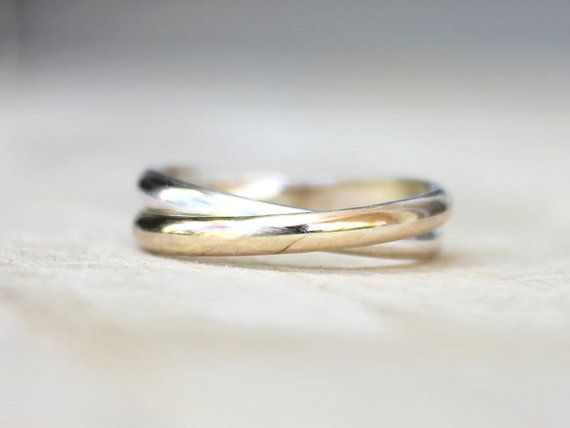Double Band Trinity Ring | Gold and Silver Bands | Two Toned Rolling Ring | Wedding band [Infinity Ring]