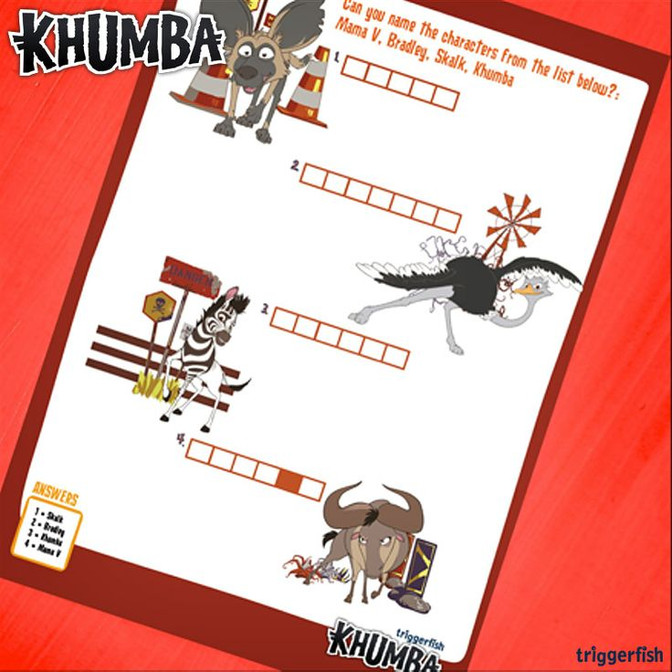 More activities out today! Can you name these Characters?  Just visit:  www.khumbamovie.com to download  plenty of fun for kids. ;)  P.S. BIG NEWS APPS NOW AVAILABLE!!  Gong Rocker Android:   Gong Rocker iOS:   Khumba The Game Android Khumba The Game iOS:  A-Z App Android & iOS
