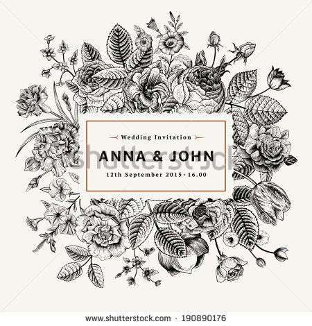 Vintage elegant wedding invitation with summer flowers. Black and white vector illustration. - stock vector