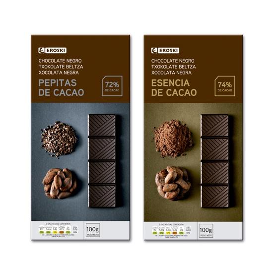 Chocolate con pepitas y esencia de cacao