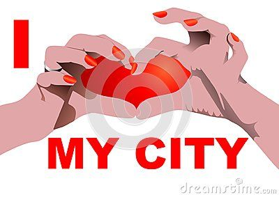 I love my City isolated on white with Heart shaped hand position.  Vector illustration.