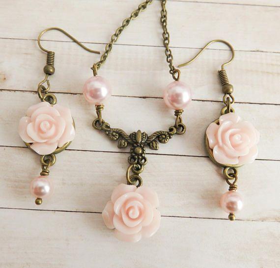 Pale pink flower girl jewelry set flower necklace pearlPale pink flower girl jewelry set with Swarovski pearls. #weddings #pink #flowers #bride #handmade