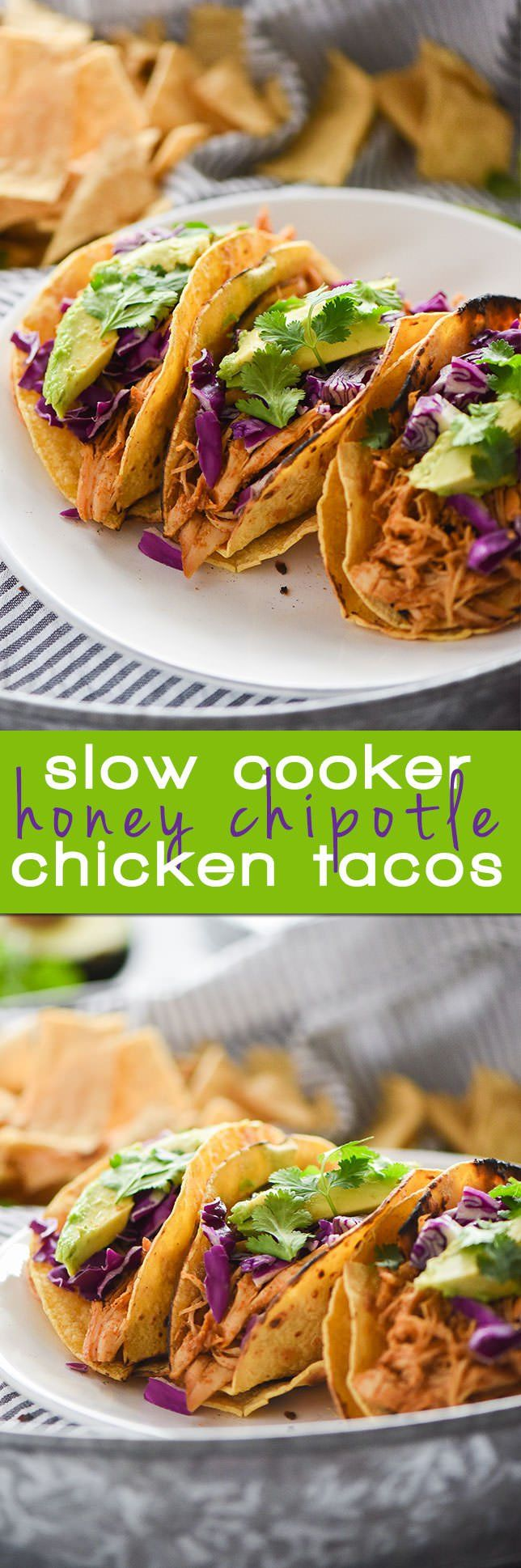 Slow Cooker Honey Chipotle Chicken Tacos are sweet & spicy, and is fall apart tender & full of chipotle and honey! Delicious in tacos or over lettuce!