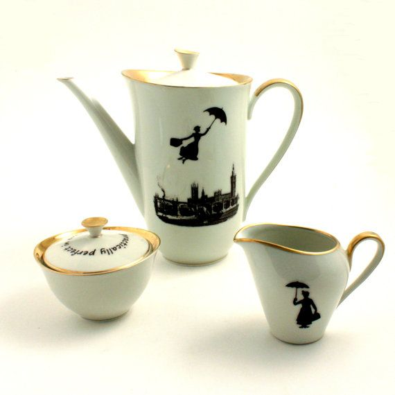 Redesigned  Mary Poppins Teapot Coffeepot Set  Nanny Tea Coffee Porcelain Vintage Musical Film Big Ben London England White Brown Romantic