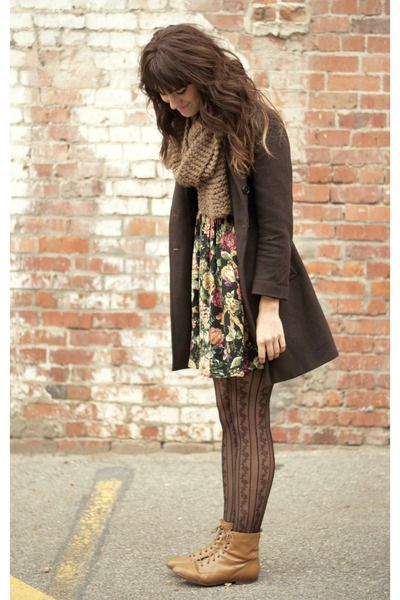 Camel-vintage-boots-black-floral-dress-army-green-vintage-coat-brown-scarf_400