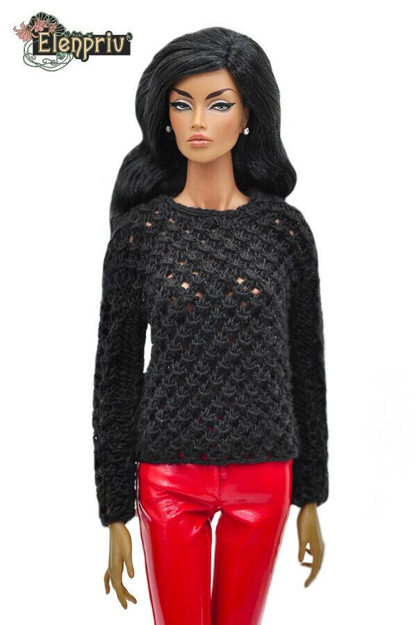 ELENPRIV black jersey tights for Fashion royalty FR:16 ITBE and similar dolls