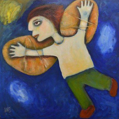 "Regina Noakes- Red Hill Art Gallery, Brisbane. Painting ""The Optimist"" 76x76cm"