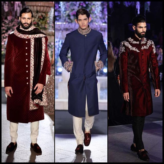 The perfect groomswear collection #lakmefashionweek2016 #maroon #velvet #sherwani #manishmalhotra #wedding #outfit #groomstyle #fashionweek #frugal2fab
