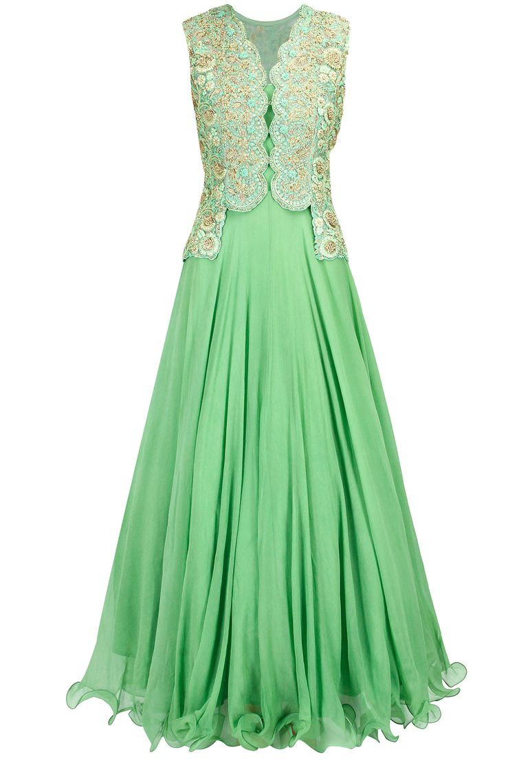Mint green embroidered anarkali with jacket available only at Pernia's Pop-Up Shop.