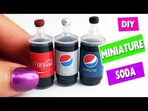5 minute crafts - DIY Miniature Realistic Cola - Soda - Pop Bottles - YouTube                                                                                                                                                                                 More