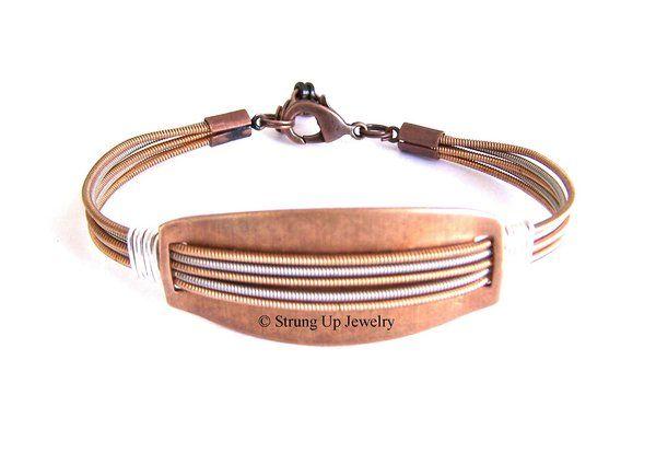 Bronze Plate Bracelet | Guitar String Jewelry