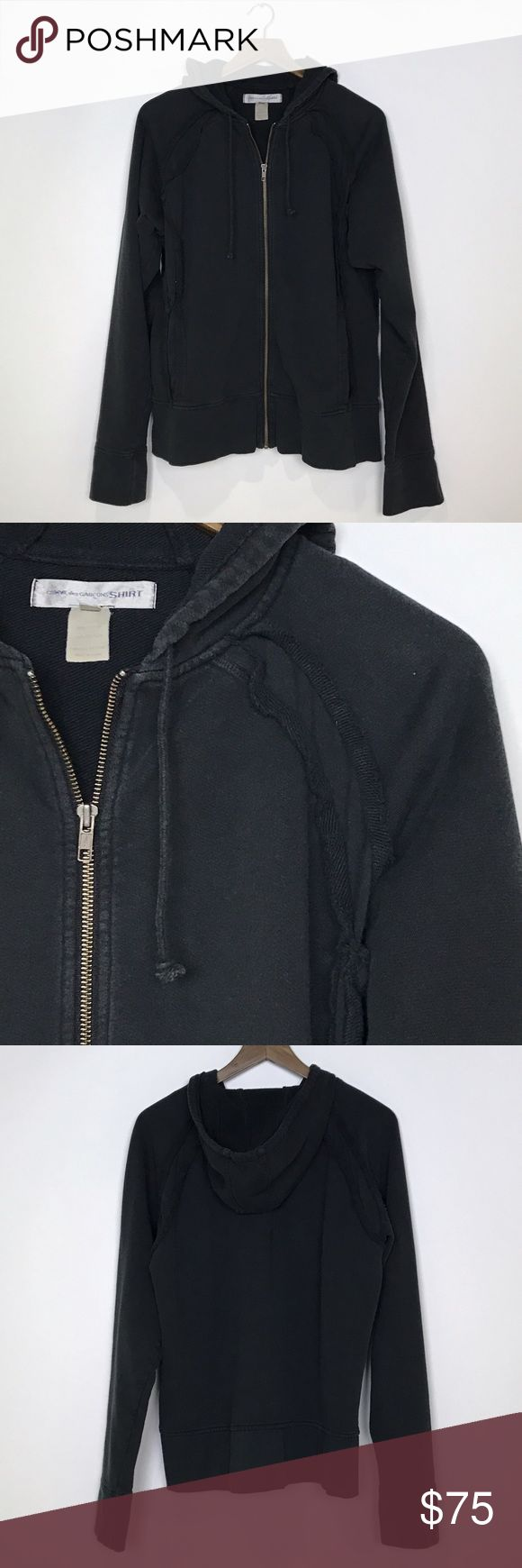 """[Comme Des Garçons SHIRT] Black Zip Up Hoodie CDG Blac zip up hoodie sweatshirt by Comme Des Garçons SHIRT. Side pockets. Long raglan sleeves. Has a faded/vintage look by design. Soft.  Fabric: 100% Cotton Armpit to Armpit: 23"""" Length: 26"""" Condition: Good pre-owned condition. Faded finish by design. Comme des Garcons Shirts Sweatshirts & Hoodies"""