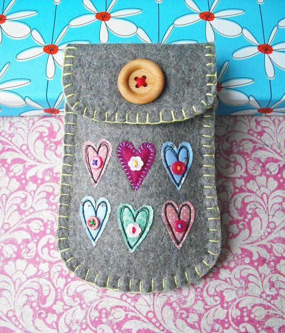 Felt Phone Case Little Love Hearts by suezybees on Etsy