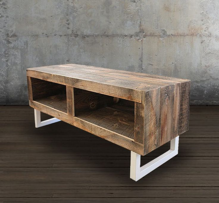 Reclaimed Wood Media Console, White Tube Steel Legs - Free Shipping