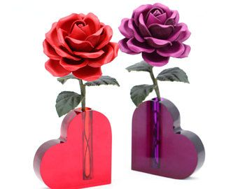 Leather Rose With Heart Vase Purple Red Flower Third Wedding Anniversary Gift Long Stem Flower Valentine's Day 3rd Leather Anniversary