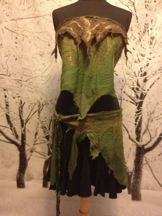 Willow Dryad Faerie Wear Nuno Felt Wrap Skirt and Halter Pixie Festival Costume OOAK Fairy Ready Tree  Dryad Forest Clothing Felted on Etsy, $159.00