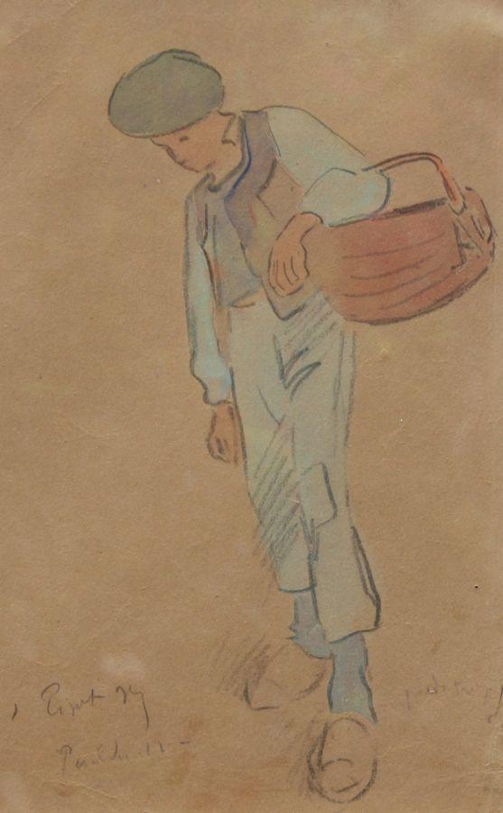 """Jean Bertrand PEGOT-OGIER (1877-1915), """"Jeune garçon, Pouldu, 1912"""", aquarelle"""