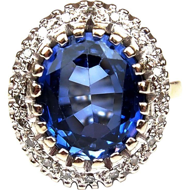 GIA Art Deco 14k White Gold 5.30 ctw Created Sapphire and Diamond Ring