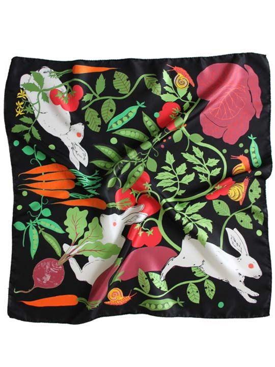 Rabbits in the Allotment Silk Twill Scarf | Karen Mabon