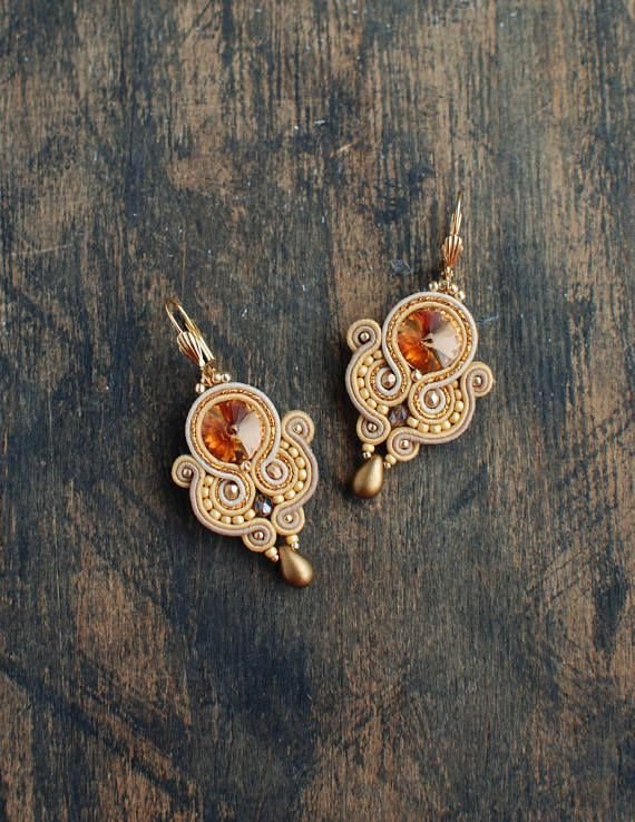 Check out this item in my Etsy shop https://www.etsy.com/listing/546494907/soutache-dangle-earrings-gold-and