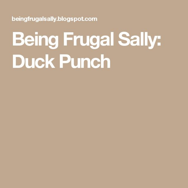 Being Frugal Sally: Duck Punch