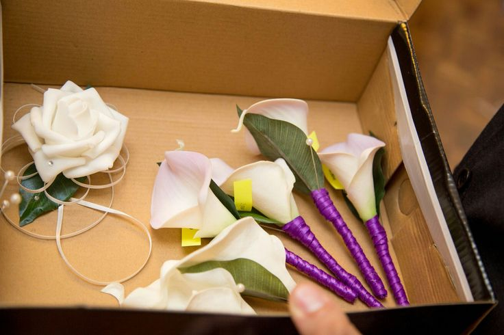 Purple calla lily corsages