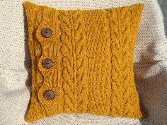 Mustard Knitted Pillow Chunky Pillow Decorative Pillows Mothers Day Gift Throw Pillows Knitted Cushions Knitted Cushions Knit Pillow Couch Throw Pillows