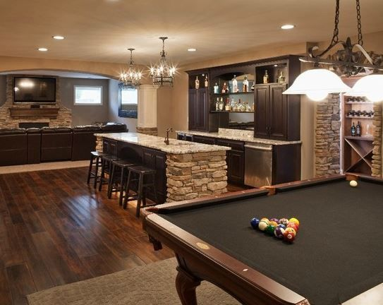 Great for a bonus area in the basement. Perfect getaway for teens and great for Dad to entertain his buddies.
