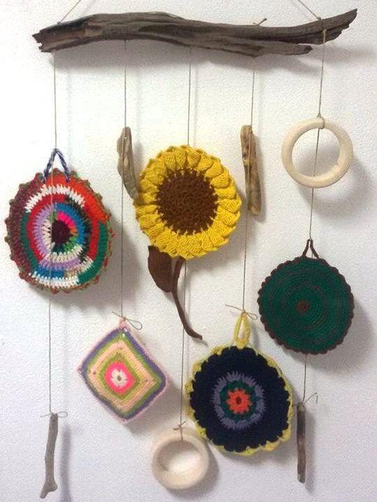 Vintage Textile Wall Hanging,Vintage Crochet Decoration, Hippie Decor, Boho Wall Decor, Sunflower Wall Hanging, Bohemian Wall Decor by LIMASCRAFTS on Etsy