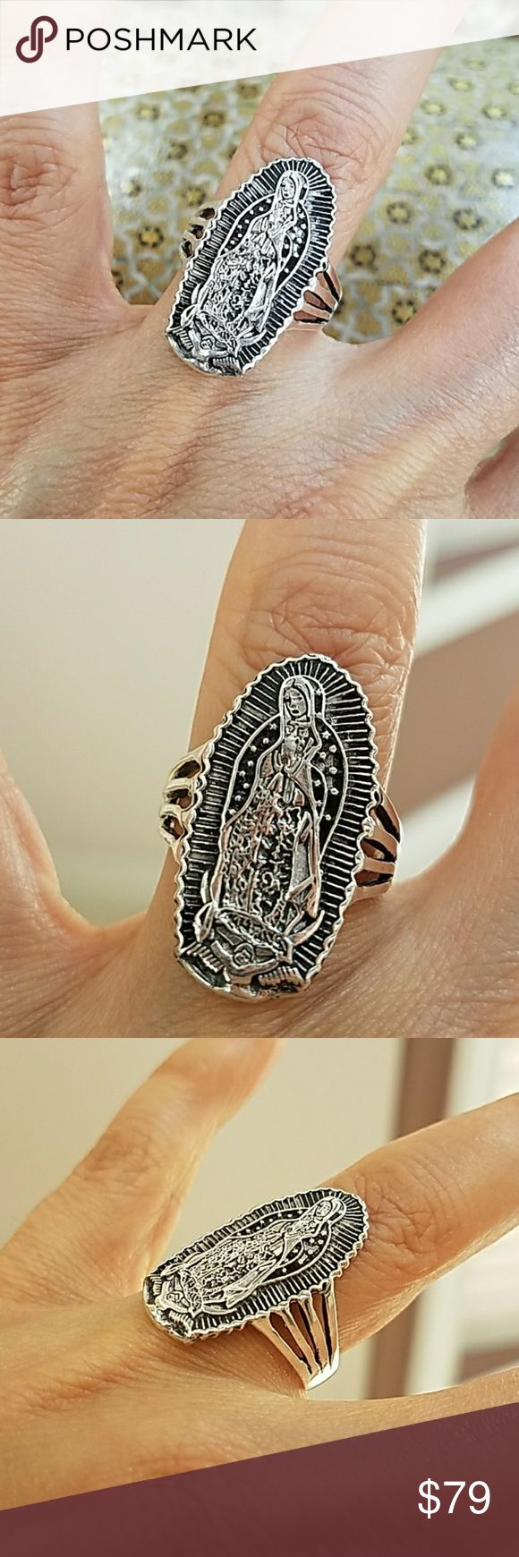 Religious Anillo de virgen de Guadalupe angel Ring UNISEX Religious Ring Anillo de virgen de Guadalupe Ring  14k White Gold plated Antique look Religious Ring Band. Available in all sizes. For men or women Please message me your ring size before purchase  Item#DS1221 Anillo de virgen de Guadalupe chaoeado Virgen Mary Jewelry Rings