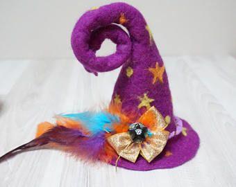 Viola della strega mini cappello Halloween Luna Stella infeltrita con feltro di lana fascinator spilla pin cap guidata giallo natale nuovo anno sfila