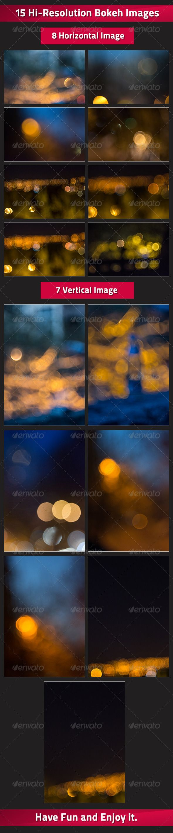 Set of 15 Bokeh Images #GraphicRiver This hi-resolution images are great for Backgrounds, or for overlay on pictures and these kind of things. Resolution of images is 4608X3072, to both kind of pictures(Horizontal or Vertical). You can use tiny crops of pictures an still have a great quality. This images are real photos and were shot to Nikon D3100 with lenses Nikorr 70-300 and Helios 44-2. Have fun! If you Buy it Don't Forget to Rate it. Thanks. Created: 31July12 GraphicsFilesIncluded…