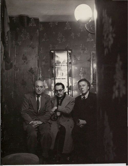 Benjamin Péret, Man Ray and André Breton, Paris ca 1955 -by Izis