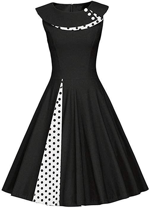 03eb7e90e iBaste Women 50s Vintage Retro Polka Dots Sleeveless Housewife ...