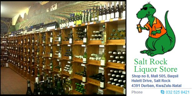 Salt Rock Liquor Store. Open Monday - Friday 9:00am-6.30pm, Saturday 9:00am to 5:00pm. https://www.facebook.com/pages/Salt-Rock-Liquor/441242715913560