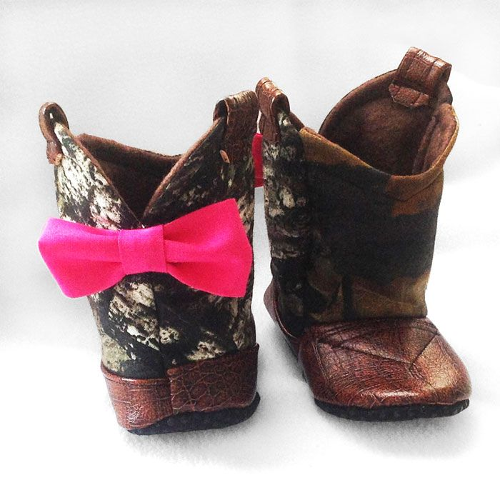 Camo Baby Cowboy Boots with Pink Bow