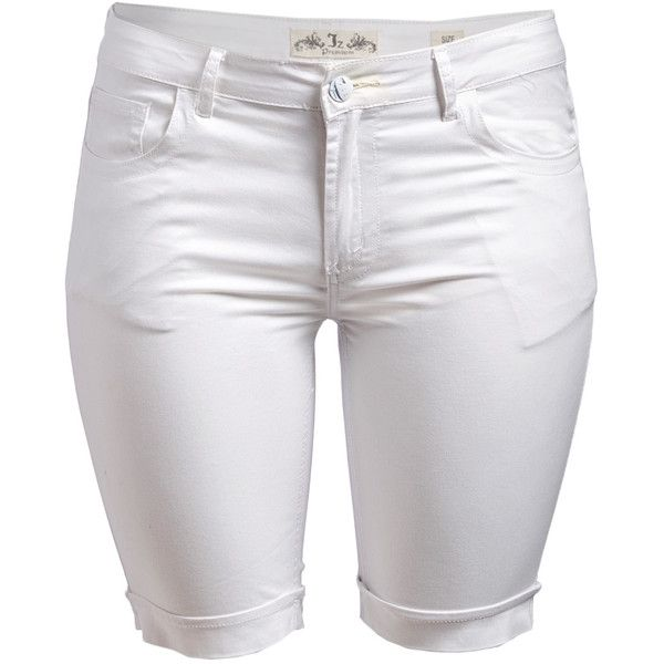 JZ JEANS White Twill Bermuda Shorts ($9.99) ❤ liked on Polyvore featuring shorts, plus size, plus size shorts, white bermuda shorts, bermuda shorts, women's plus size shorts and twill shorts