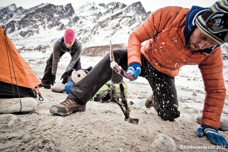 Pitching a tent in Nepal