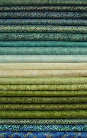 Blue and Green Metallic Pre-cut Fabric Strips - green, teal, blue, and cream. Soft and soothing... but elegant, with gold metallic accents in these fabrics!