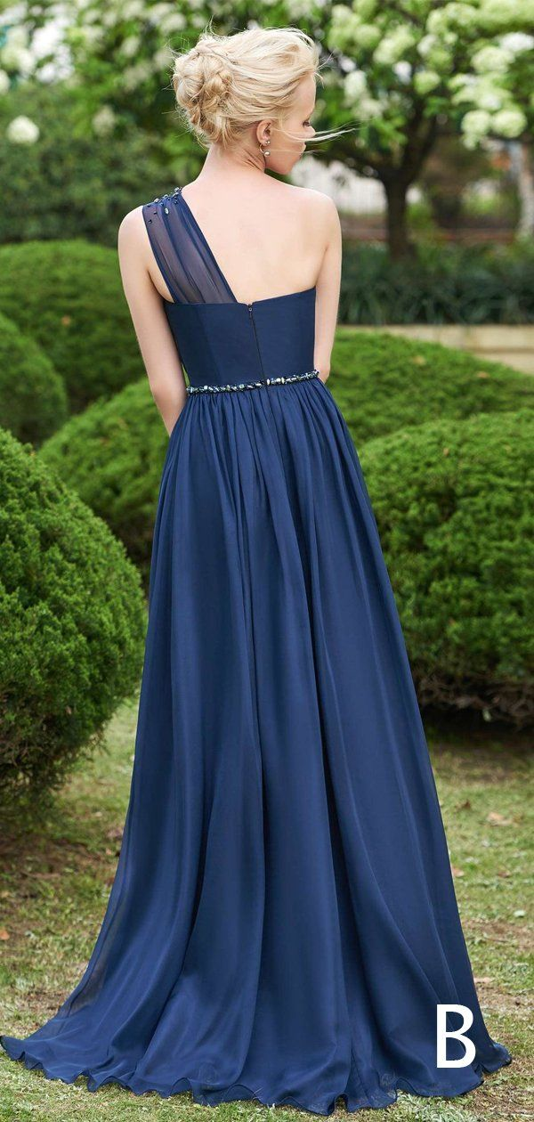 Navy Chiffon Strapless One Shoulder Mismatched A-line Bridesmaid Dresses,PB1059